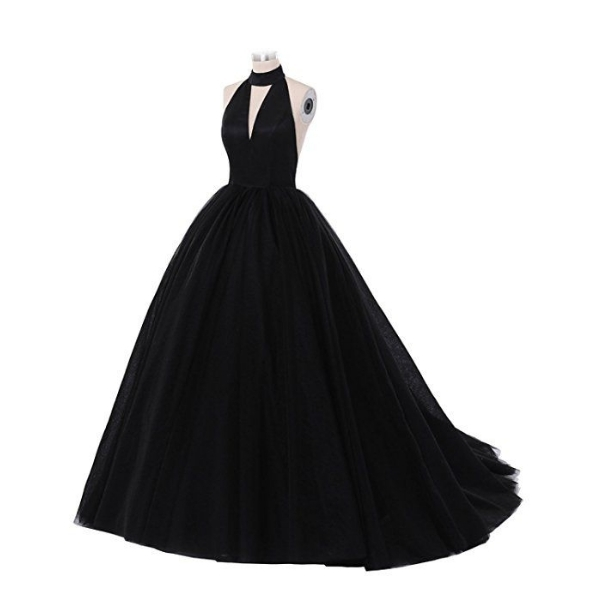 Evening dress without back and long